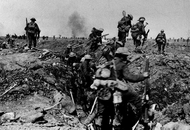 British troops advance on the first day of the Somme