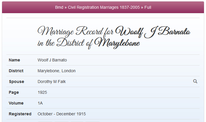 First of three marriages was to Dorothy M Falk
