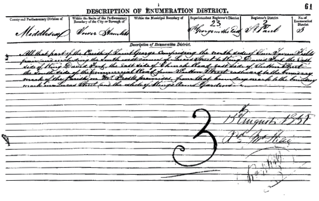 Enumeration District page in the 1851 census