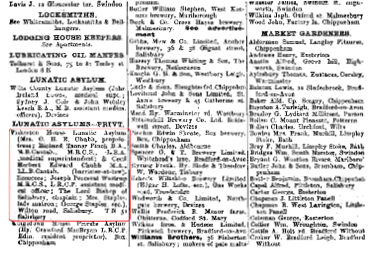 Kelly's Directory of Wiltshire 1911