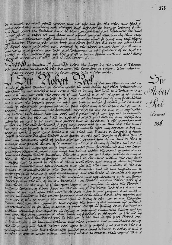 Sir robert Peel's Prerogative Court of Canterbury Will