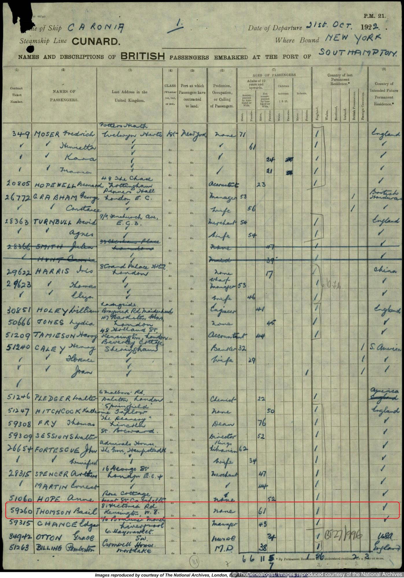 Basil in a New York outbound passenger list
